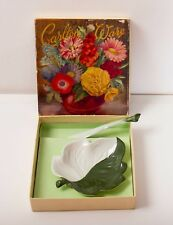 Carlton Ware vintage leaf shape dish plate & knife 2 tone green original box