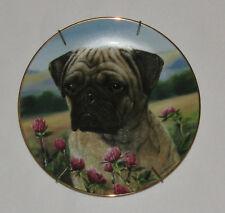 Prairie Pug Danbury Mint Plate Dog Flowers Field Simon Mendez Limited Edition