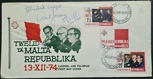 1974 Malta Republic FDC Signed by President A. Mamo & Prime Minister D. Mintoff