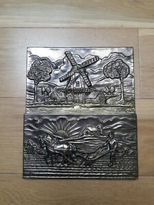 Vintage Brass Wall Hanging Letter Rack Dutch Windmill Ploughing Sunrise