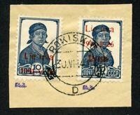 DB Litauen Zarasai Nr. 2 bI FII, 2 bII B gest. Briefstück, Attest Huylmans,B0162