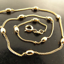 NECKLACE CHAIN GENUINE REAL 18K YELLOW G/F GOLD SOLID BEAD BALL CURB LINK DESIGN