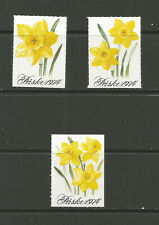 3 X Norway Easter 1974 charity stamp/label (Daffodils)