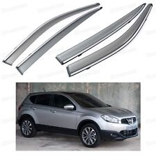 Front & Rear Window Visor Deflectors Vent Shade for Nissan Qashqai 2010-2013