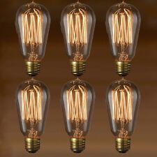 Edison Bulb - Nostalgic Thread Filament - 6-Pack - Vintage Style Repro - 40W