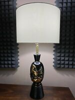 Vintage Mid Century Black And Gold Ceramic Table Lamp With Impala Figure MCM
