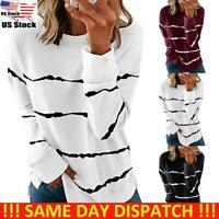 Women Ladies Striped Long Sleeve Blouse Tops Casual Pullover Jumper Loose Blouse