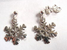 Snowflake and Ball Stud Earrings 925 Sterling Silver Post Corona Sun Winter Snow