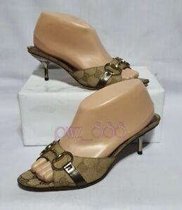 GUCCI Horsebit Monogram Slides Heels Shoes Size 36 1/2
