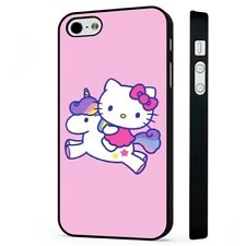 Hello Kitty Unicorn Pink Colourful BLACK PHONE CASE COVER fits iPHONE