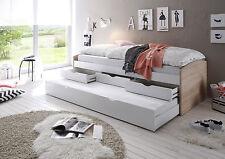NELE-Letto in quercia Sonoma/bianco d'imitazione estraibile, 90x200 cm