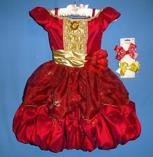 Disney Store Princess Belle Costume dress girls XXS 2-3 Red Valentine-hair-bows