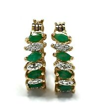 Natural Emerald and Diamond Hoop Earrings Gold Plated Sterling Silver GV144459