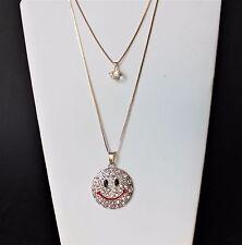"""Fashion 30"""" long double necklace w/ large smile face rhinestone pendants"""