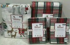 Pottery Barn Kids Morgan plaid flannel QUEEN duvet shams merry Santa SHEET set