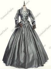 Victorian Civil War Dickens Faire Silver Day Dress Theater Reenactment Gown 170