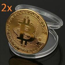 2x Bitcoin Münze Gold Medaille Kryptowährung Kryptomünze
