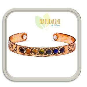 Bracelet cuivre magnétique anti-douleurs. Rhumatismes, arthrose. 7 Chakras