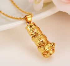 Mother's Day 24k Gold Dragon Tower Pendant & Chain Link Necklace + GiftPkg D545