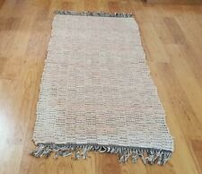 Vintage Country Pink Rag Rug Runner Hand Loomed