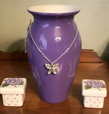 """TELEFLORA """"Beautiful Butterfly"""" Vase NECKLACE PENDANT INCLUDED & 2 Trinket Boxes"""