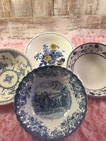 Vintage Mismatched China Blue and White Soup / Cereal Bowls Set of 4        #129