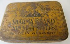 Rarts VINTAGE SHARMA BRAND GERMANY PHONOGRAPH GRAMOPHONE NEEDLE TIN SIGN BOX