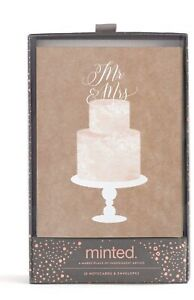 Mr. and Mrs. Cake Topper Notecards & Envelopes Wedding 20 Count