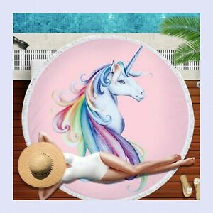Round Beach Towel Tropic Microfiber Chiffon Printed  Collections with Tassel 002