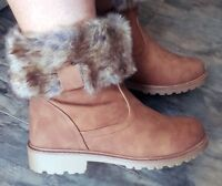 New CAMEL Womans Boots Faux Fur Ankle Flat Casual Walking Hiking Warm Ladies UK