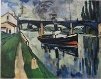 Maurice de VLAMINCK : la Seine à Poissy - LITHOGRAPHIE signée, 1958, MOURLOT