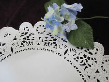 "10 pcs Vtg 12"" Inch Round Off White Fine Lace Paper Doily Glassine Shine"