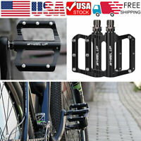 1 PAIR Bicycle Road Mountain Bike Pedals Carbon Fiber Sealed Bearings Black USA