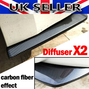 2x Carbon Fiber Rear Bumper Lip Diffuser Splitter Canard Protector Accessories