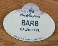 Genuine Walt Disney BARB Orlando Fl Collectible Name Tag Pin Only *READ*