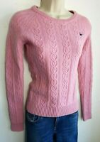 JACK WILLS CHUNKY CABLE KNIT WOMENS JUMPER SWEATER S PINK WOOL #25/40