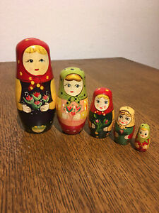 Vintage Hand Painted Russian Matryoshka Nesting Dolls Excellent Condition