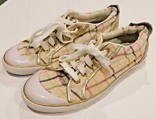 Coach Size 7.5 Plaid Metallic Gold Canvas & Leather Trim Lace Up Sneaker