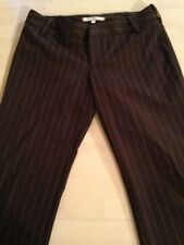 Joie Women's Pants Brown Pinstriped Flat Front Stretch Dress Pants Size 4