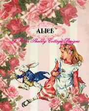 "Adorable Alice In Wonderland Altered Art w White Rabbit 5x7"" Fabric Block"