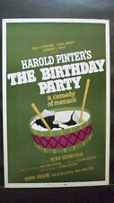THE BIRTHDAY PARTY Window Card HAROLD PINTER Booth Theatre NYC 1967