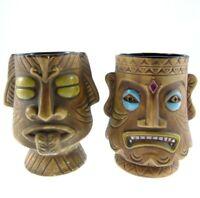 2pc Set Vintage Hawaiian Tiki Mugs Stuck Out Tongue Baring Teeth Brown Ceramic