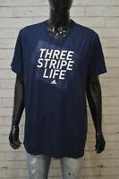Maglia Blu Uomo ADIDAS Taglia 2XL Maglietta Shirt Men Manica Corta Sport Jersey