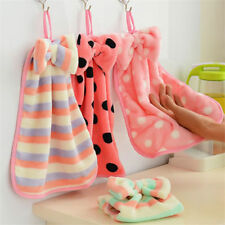 Hand Towel Soft Plush Hanging Wipe Bathing Towels Bath Kit Soft Coralline Towel