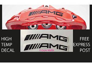 AMG BRAKE CALIPER DECAL HIGH TEMP (15.5cm) Black Curved Sticker Set x 2