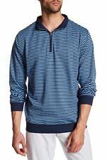 Peter Millar Heather Interlock Striped Quarter Zip Pullover Sweater Blue Small S