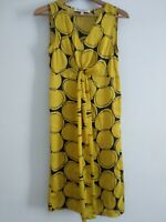 Clements Ribeiro Midi Dress Small UK 8 Navy Blue Yellow XS Circles Summer