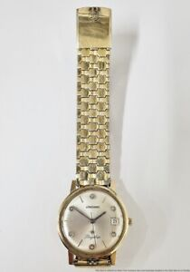 Vintage Longines Flagship Diamond Dial Date Heavy Gold Filled Mens Wrist Watch