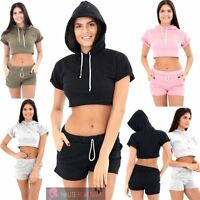 WOMENS LADIES TURN UP SHORT SLEEVE HOODED CROP TOP SHORTS GYM SPORTS SET 8-14