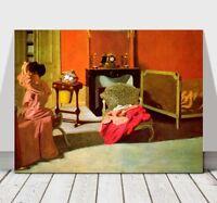 "FELIX VALLOTTON - Woman Combing Her Hair - CANVAS ART PRINT POSTER - 12x8"""